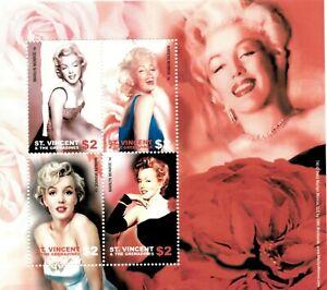 St. Vincent 2004 - SC# 3188 Marilyn Monroe, Flower - Sheet of 4 Stamps - MNH