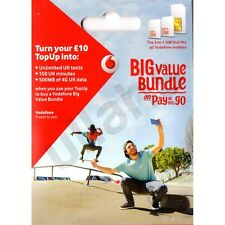 Vodafone UK PAYG Pay As You Go Includes Standard, Micro & Nano Triple SIM Card