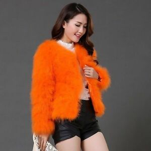 winter Women's Jacket Coat short Genuine Fur Feather Outwear Garment new