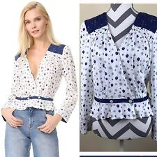 NEW Free People Navy White Where We Roam L/S Wrap Blouse, Size M
