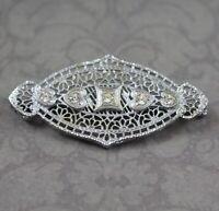 Vintage Art Deco Dainty Silver Tone Filigree Heart Clear Rhinestone Brooch
