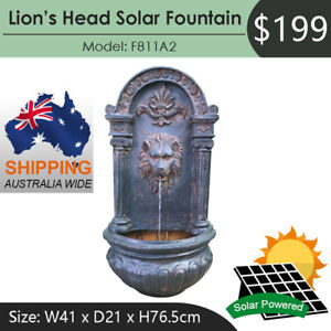 Lion's Head Solar Powered Water Feature Fountain F811A2 Australia Wide