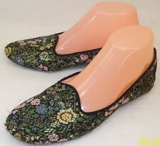 vintage Daniel Green Womens 7.5 Black gold Floral Brocade Ballet Flat Slippers