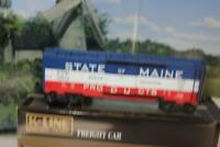VINTAGE K-LINE TRAINS 900131C KCC STATE OF MAINE BOXCAR 0/027 SCALE - NEW - B15