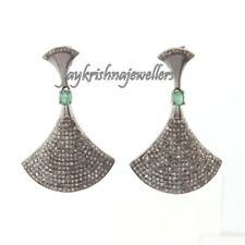 Beautiful Emerald Gemstone Sterling Silver Handmade Pave Diamond Unique Earring