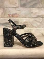 NIB Chanel 17P Black Gold Python CC Chain Block Heel Sandal Pump Shoe 37 $1350