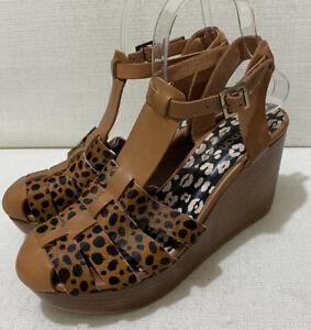 GORMAN - Doris Animal Print Pony Hair Leather Wedge Sandals - Sz 38