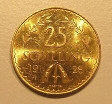 900er GOLDMÜNZE, 25 SCHILLING 1928, 1 Republik 1918-1938, Feingehalt: 900/1000