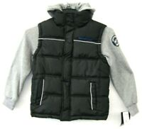 Weatherproof NWT $75 Boys Puffer Hooded Coat Size S/8 Black Insulated Grey KD837