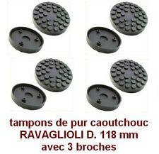 4 X tampons de pur caoutchouc D. 118 mm+3 broches pour Pont elevateur RAVAGLIOLI
