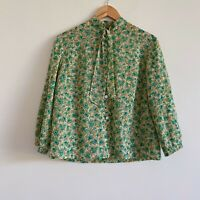 vintage green floral button up shirt top bow tie boho romantic
