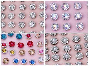 50 Silver Bling Crystal Rhinestone Pearl Flatback Button 9mm 11mm Wed Invitation