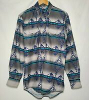Vintage Roper Western Shirt Teal Aztec Southwest Cowboy Snap Button Size M