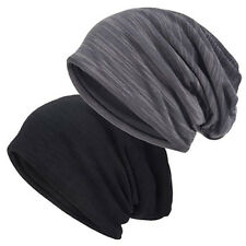 2pcs Men Slouch Beanie Thin Hat Summer Skull Cap Hollow Oversized Baggy Cap