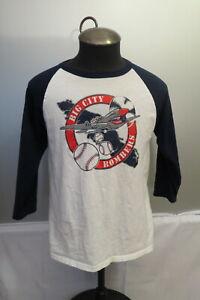 Local Baseball Shirt - Big City Bomber Warplane Graphic - 3/4 Sleeve - Men's M