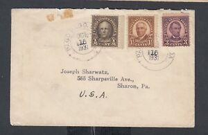 USA SAMOA 1931 3C LINCOLN COVER PAGO PAGO TO SHARON PENNSYLVANIA