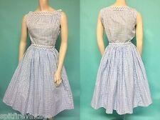 Vintage 50s BLUE White GiNGHAM Western Pin Up FuLL Skirt TOP 2pc Dress SET xs/s