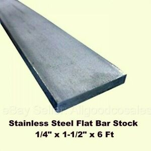 "1 1//2/"" Thickness 304 Stainless Steel Flat Bar 1.5/"" x 3/"" x 12/"" Length"