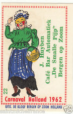 22. MATCHBOX LABEL 1962 CARNAVAL COSTUME NETHERLANDS PAYS BAS Carnival CARD 60s