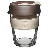 Keepcup Brau Wiederverwendbar Glas Kaffeetasse Becher mit Silikon Band 340ml
