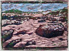 Porthmeor Beach, St Ives Original Hand Pressed Linocut with collage Ltd Edition