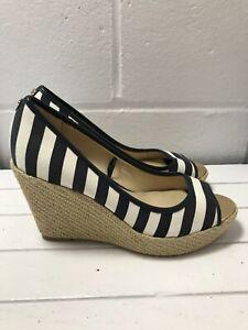 Ladies Blue & White Stripe Pattern Woven Wedge Principles Heels - UK Size 5  B22