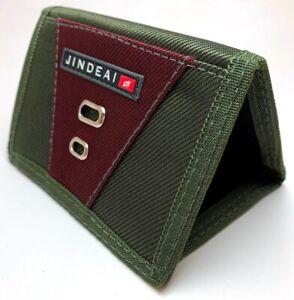 1 pcs Forest Green & Maroon Jindeai Tri-Fold Man Boy Zip Wallet