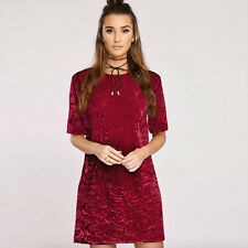 Womens Crushed Velvet  Mini Dress Short Sleeve Loose Long Tops T Shirts Blouse