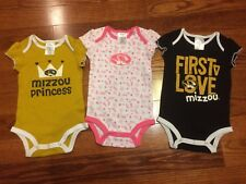 New! Missouri Tigers Girls 3-pack One Piece Baby Outfit 6/9 Months