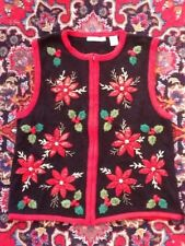 Inspire Poinsettia Holly Sequins Beads Christmas Sweater Vest XL Not Ugly EUC