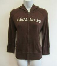 ABERCROMBIE & FITCH WOMENS HOODIE SIZE 12 (L) BROWN HOODED SWEATSHIRT ZIP TOP