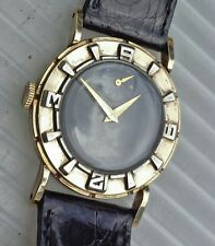 VINTAGE BULOVA L2 AIR KING BLACK FACE-GOLD/SILVER DIAL-BLK CROC BAND WRISTWATCH