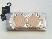 BNWT -  Next Owl Metalic Pinks Long Purse- Flapover- Cards/Coins