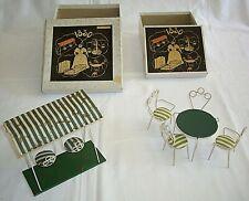 SALON DE JARDIN et BALANCELLE en métal courbé - JOUETS DES ANNEES 1960