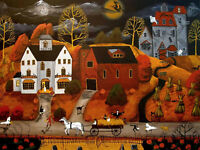 Dollhouse 1:12 scale art giclee signed print miniature 1.5x2 Halloween witch DC