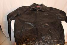 Mens Black Leather Bomber Jacket Coat Large