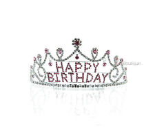 Pink Tiara Dangling Rhinestone Crystal Happy Birthday Crown w/ Comb gift for her
