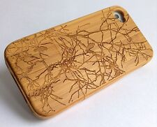 iPhone 4/4s Bamboo Wood Case ( Bird In Old Tree ) 100% Genuine Wood Cover✔️