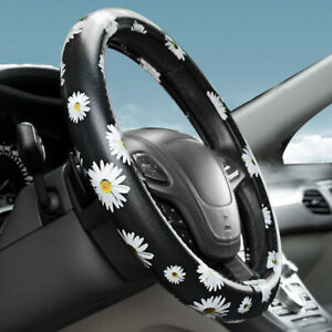 "38CM/15"" Sunflower Microfiber Leather Car Steering Wheel Cover Anti-slip Girp US"
