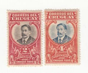 Uruguay 1920. Honouring Jose Enrique Rodo, 1871-1917. 2c & 4c. MLH OG