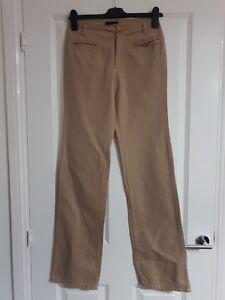 SISLEY TAN CAMEL BEIGE COTTON SELF STRIPE SMART WIDE STRAIGHT LEG CHINO TROUSERS