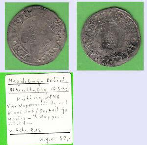 Magdeburg Erzbistum Körtling (Halbgroschen) Albrecht von Brandenburg 1513-1545