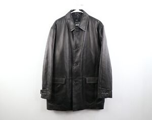 New Hugo Boss Mens Size 42R Soft Lamb Leather Lined Button Jacket Coat Black