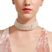 Multi Layer Choker Imitation Pearl Necklace Pearl Collar Pearl Choker B78