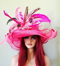 Pink Wide Brim Kentucky Derby Hat- Wedding- Races - Sinamay Sheer