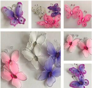Wired Organza Butterflies  Wedding Craft  Glitter Crystal