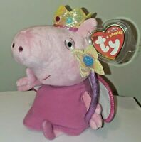 """Ty Beanie Baby - PRINCESS PEPPA PIG 6"""" (UK Exclusive Version)(Peppa Pig) MWMT"""