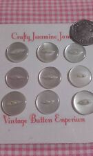 9 White Fisheye 2 Hole Cardigan Vintage Buttons 18mm Sewing Card Craft