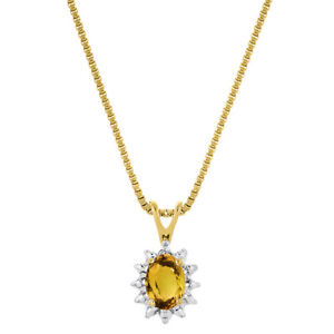 November Birthstone Pendant Necklace Citrine / Yellow Topaz Yellow Gold Plated