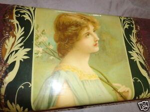 ANTIQUE VICTORIAN ART NOUVEAU LADY PORTRAIT FLORAL SPRIG CELLULOID DRESSER BOX